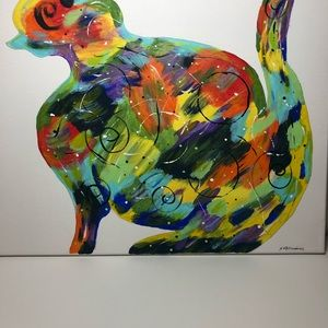 Hand Painted Abstract Colorful Cat
